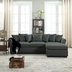 Modern Large Linen Sectional Sofa with Extra Wide Chaise - B