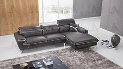 Taupe Sectional Sofa Chaise LHC Italian Leather 2P American