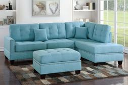 Turquoise Sectional Sofa Plush Back Pillow Reversible Chaise