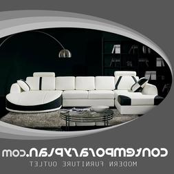 Ultra Contemporary Leather Sectional Sofa with Curved Chaise