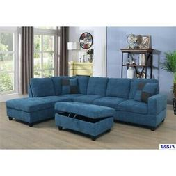 Vernes Linen Sectional Sofa with Ottoman in Blue