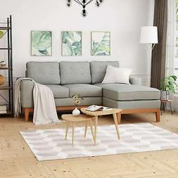 Welles Mid-Century 2-Piece Chaise Sectional Sofa Set With